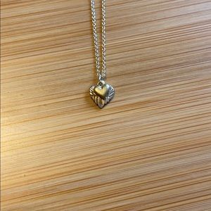 Jewelry - Two Tone Silver & Gold Hearts Necklace